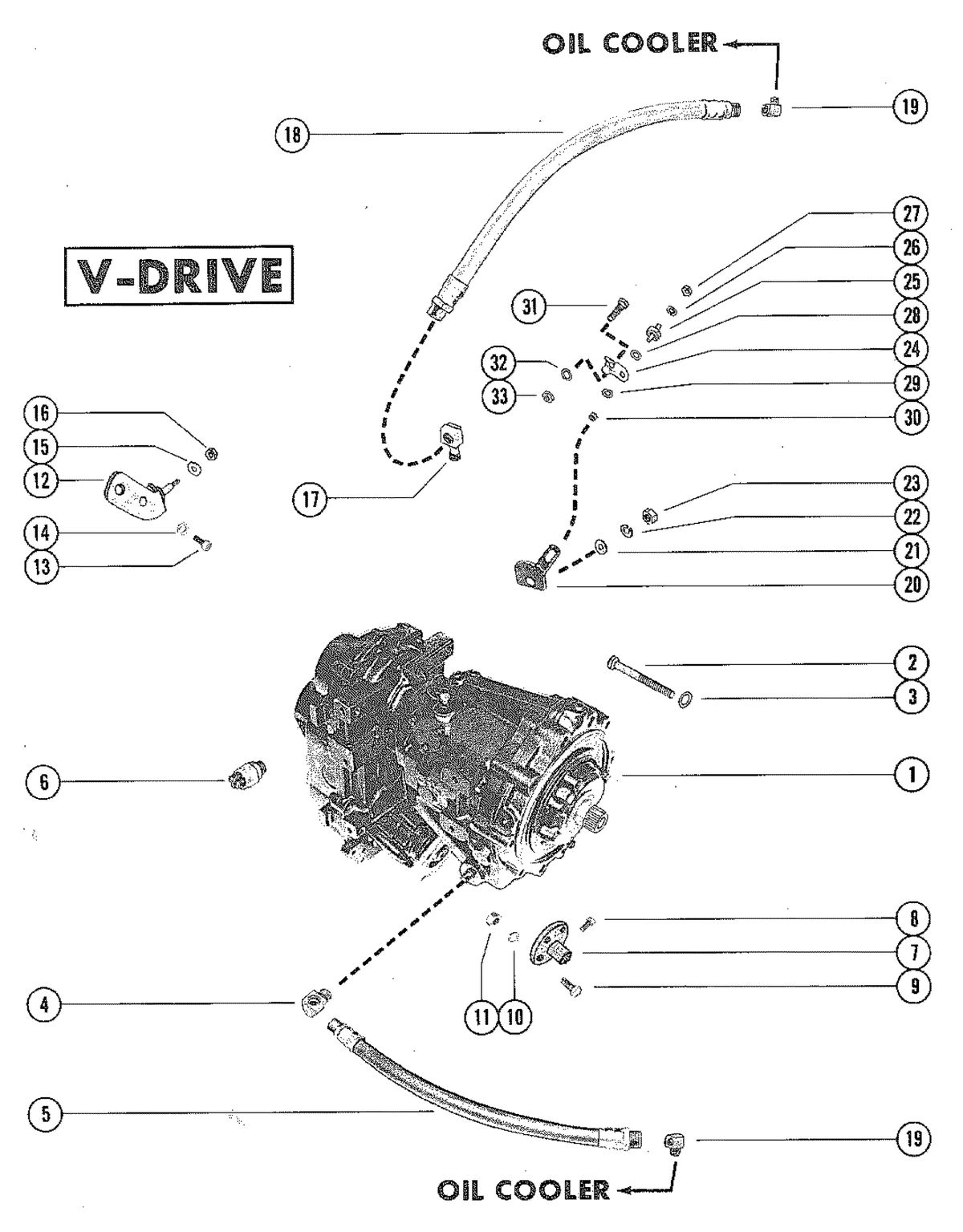 MERCRUISER 255 ENGINE TRANSMISSION AND RELATED PARTS (V-DRIVE)