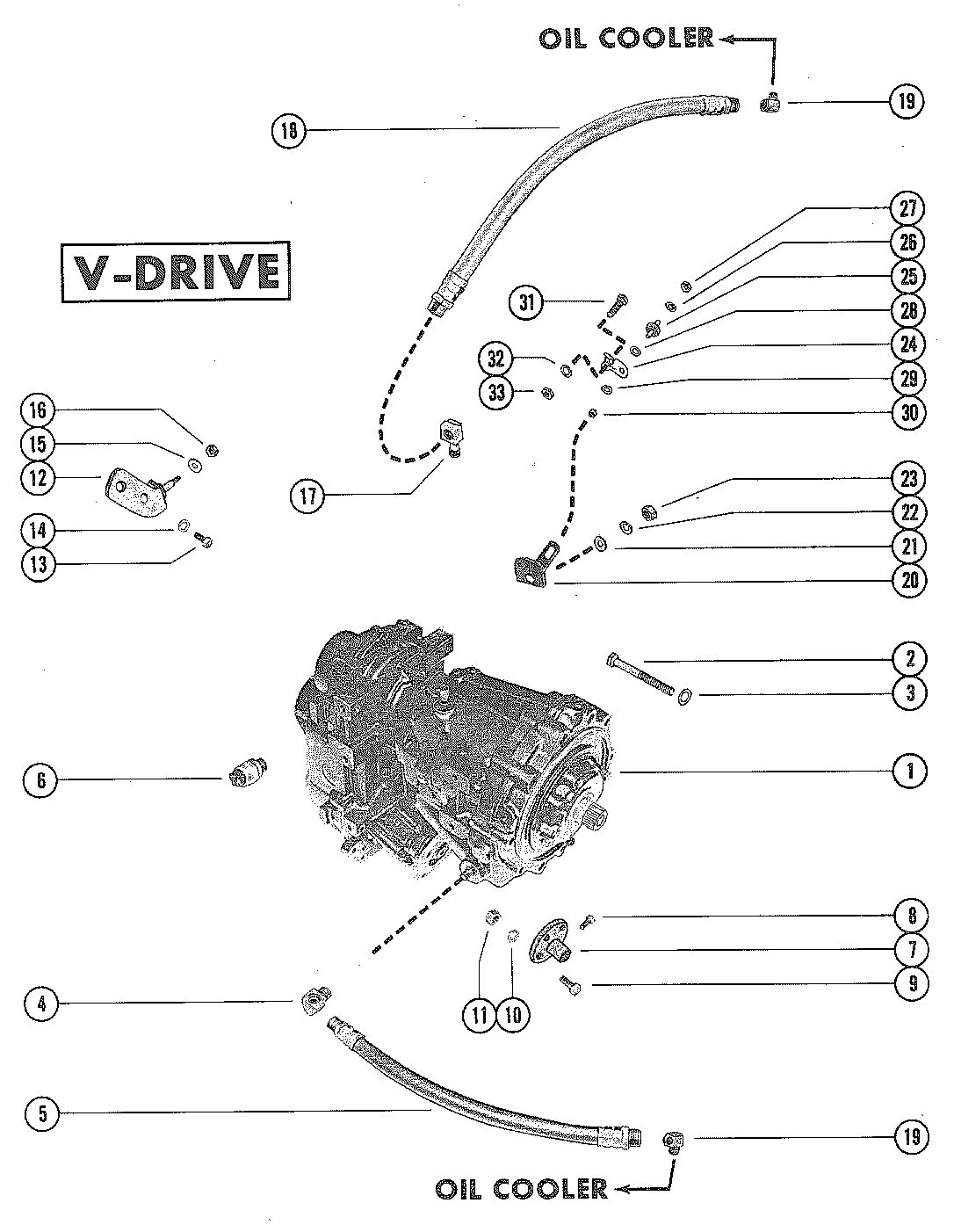 MERCRUISER 233 ENGINE TRANSMISSION AND RELATED PARTS (V-DRIVE)