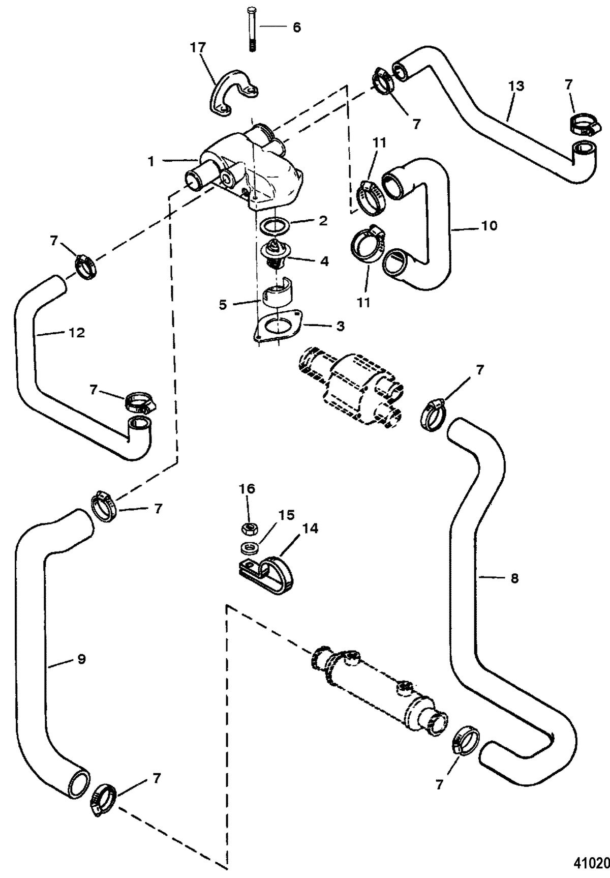 MERCRUISER 5.7L COMPETITION SKI ENGINE Thermostat Housing(Standard Cooling) Design III