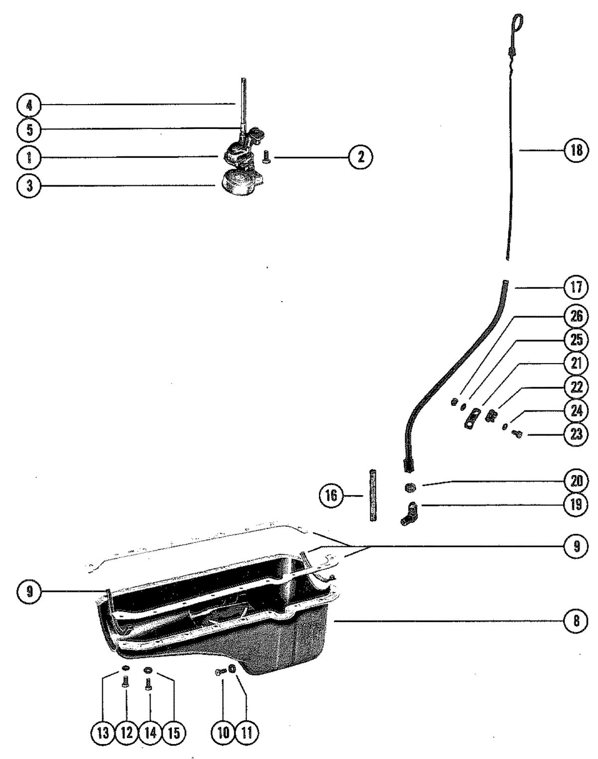 MERCRUISER 898 (STERN DRIVE) 198 (INBOARD) ENGINE OIL PAN AND OIL PUMP