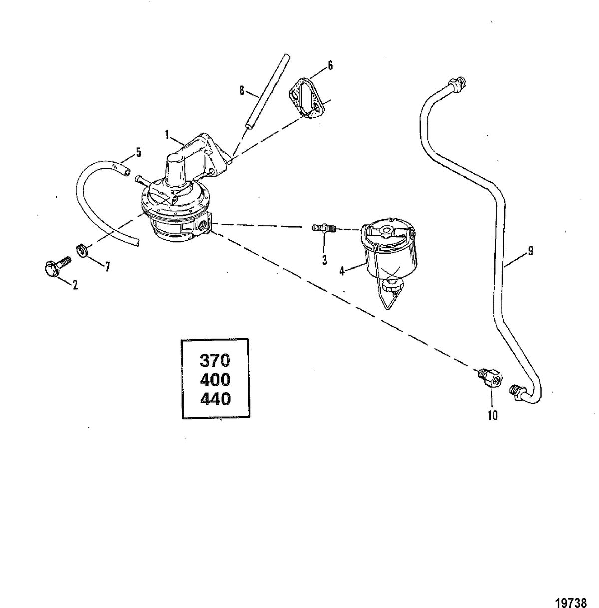 MERCRUISER 370/400/440/460 CYCLONE TRS ENGINE Fuel Pump and Fuel Lines(370/400/440)