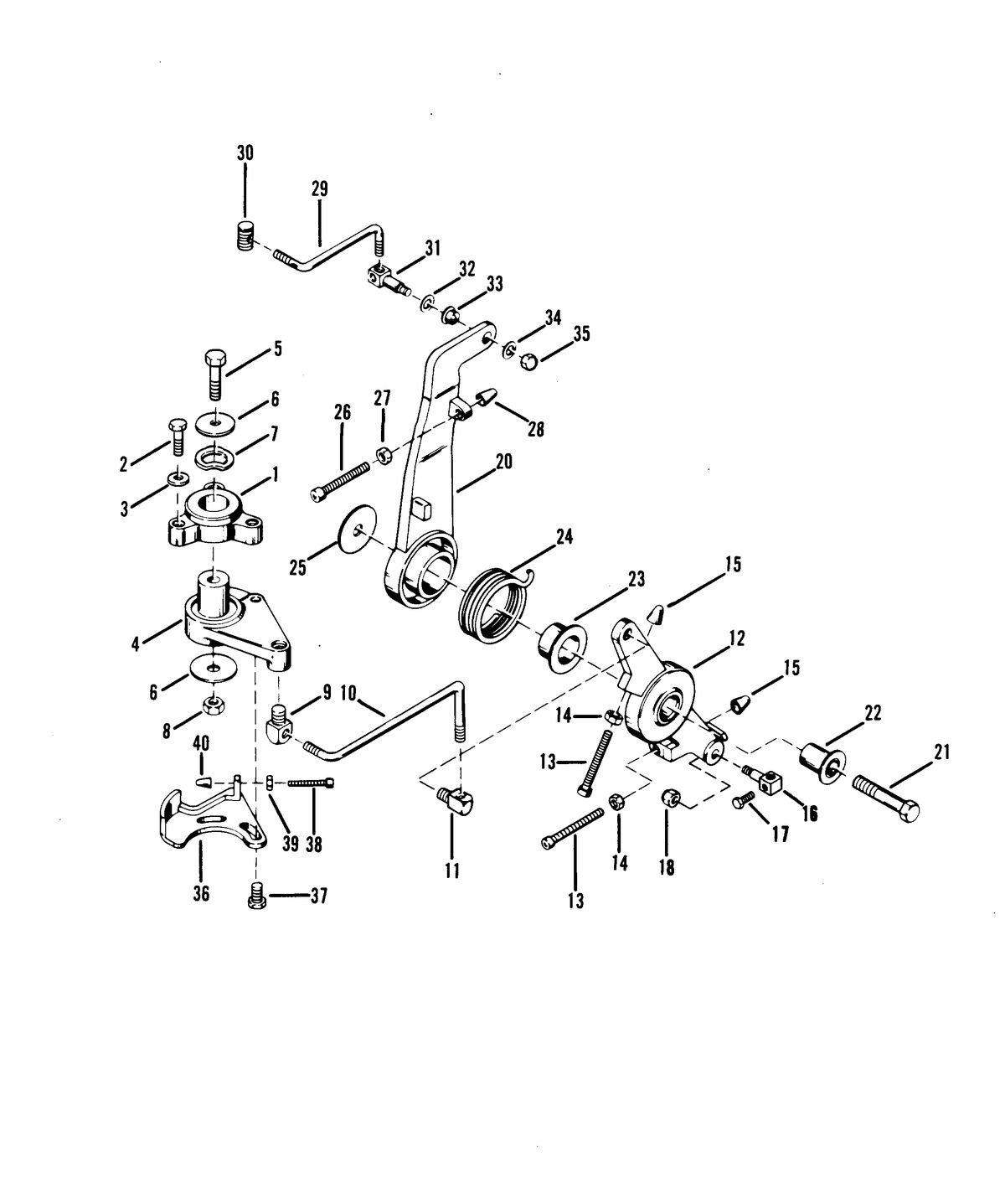 RACE OUTBOARD 44 XS THROTTLE CONTROL LINKAGE